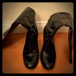 Designer patent leather boots